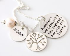 Retirement Necklace For mom - Co worker Gift -  Remember The Past Necklace - Retirement Gift Ideas - Military Retirement For Woman - Garden by whiteliliedesigns on Etsy https://www.etsy.com/listing/224960023/retirement-necklace-for-mom-co-worker