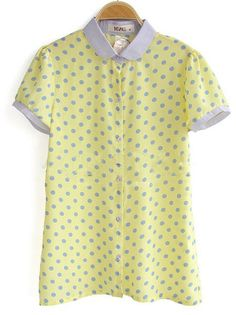Yellow Grey Contrast Collar and Cuffs Polka Dot Chiffon Shirt