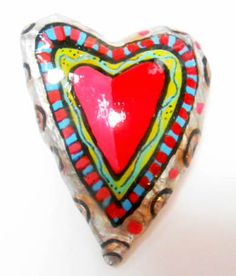 Heart Pin  Red Heart with Lime Blue Red and by SummerHouseGal, $18.00
