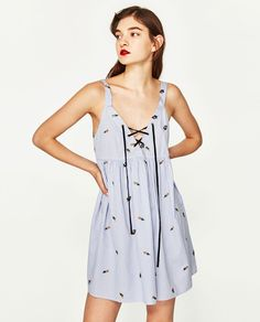 Image 3 of EMBROIDERED STRIPED DRESS from Zara