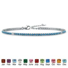 "Round Simulated Birthstone Silvertone Metal Stackable Tennis Bracelet 7 1/2""- September- Simulated Sapphire Palm Beach Jewelry. $62.99"