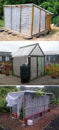 A collection of greenhouses made from repurposed plastic bottles. Get inspiration from the various green houses made of recycled plastic bottles! Greenhouse Effect, Backyard Greenhouse, Small Greenhouse, Greenhouse Plans, Backyard Landscaping, Portable Greenhouse, Greenhouse Wedding, Plastic Bottle Greenhouse, Recycle Plastic Bottles