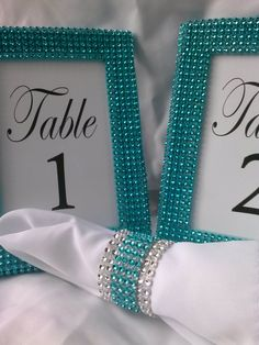 tiffany blue table settings | Set of 10 - Tiffany Blue 4x6 Frames - Table Number Frames, Menu ...