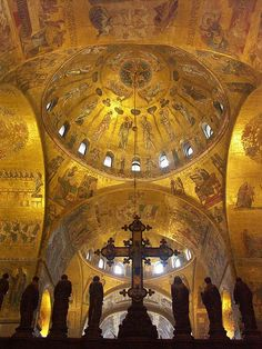 Interior of the basilica of San Marco in Venice, Italy. (Consecrated in 1094)