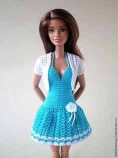 Одежда для кукол ручной работы. Ярмарка Мастеров - ручная работа. Купить Комплект одежды для Барби. Handmade. Голубой, вязанное платье