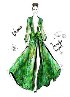 "Illustrator Megan Hess' ""The Dress"" Captures Iconic Looks in Fashion Jennifer Lopez Versace Grammys Dress"