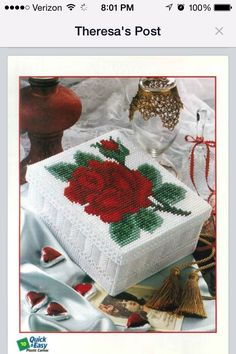 ROMANTIC ROSE BOX by KATHLEEN HURLEY 1/3 (THERE'S A BETTER COPY OF THIS PATTERN ON MY BOARD BASKETS/BOXES-VALENTINES...)
