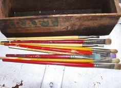 Art Artist Painting Brushes Vintage Lot of Paint Brushes Artist Brushes Set of 10 Artists Supplies Brushes - pinned by pin4etsy.com
