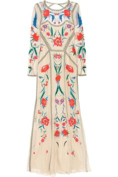 Vintage dress with multi coloured embroidery.