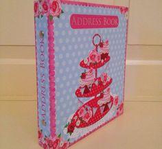 Vintage-style Pale Blue Polka Dot Floral And Cupcake Designed Address Book Cupcake Crafts, Vintage Style, Vintage Fashion, Blue Polka Dots, Book, Floral, Inspiration, Ebay, Design