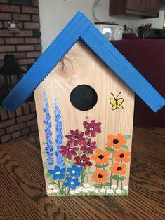 Items similar to Garden Stake Birdhouse on Etsy Painted Birdhouses, Birdhouse Craft, Birdhouse Designs, Bird Houses Painted, Decorative Bird Houses, Bird Houses Diy, Homemade Bird Houses, Bird Boxes, Art N Craft