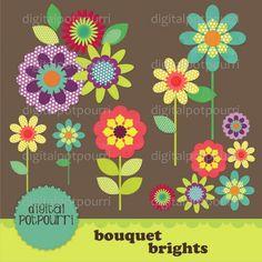 Bouquet brights Digital Papers - Luvly Marketplace | Premium Design Resources #flower #floral #clipart