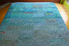 Queen size Quilt ocean ombre handmade ready to by btaylorquilts, $890.00