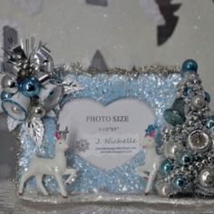 Vintage Christmas ornaments picture frame reindeer by jnichelle Beautiful Christmas Decorations, Vintage Christmas Ornaments, Blue Christmas, Christmas Crafts, Christmas Ideas, Christmas Picture Frames, Christmas Pictures, Glitter Frame, Holidays And Events