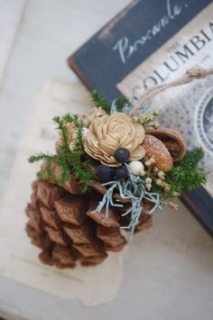 Pine Cone Decorations, Christmas Tree Decorations, Christmas Tree Ornaments, Merry Christmas, Xmas, Clay Crafts, Diy And Crafts, Dried Flowers, Paper Flowers
