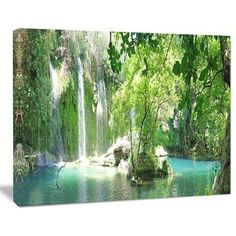 "DesignArt 'Kursunlu Waterfalls Antalya' Photographic Print on Wrapped Canvas Size: 30"" H x 40"" W x 1"" D"