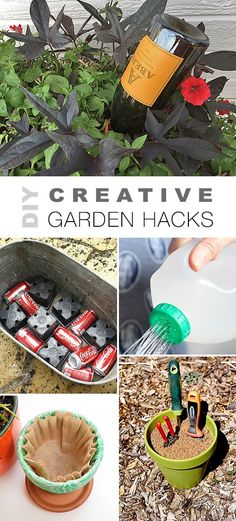Check out all these DIY Creative Garden Hacks! • Lots of great ideas & tutorials like the wine bottle watering trick, self cleaning garden tool storage, budget watering can and lots of other projects! #DIYgardenhacks #DIYgardenprojects #gardening #DIY #gardenprojects #gardeningtips #gardenhacks #DIYselfwatering