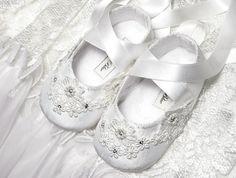 Baby Girl Shoe Katherine in Dupioni Silk with Swarovski Crystals, Wedding, Flower Girl, slipper/bootie Infant, Toddler and Pre School Sizes.. $44.00, via Etsy.