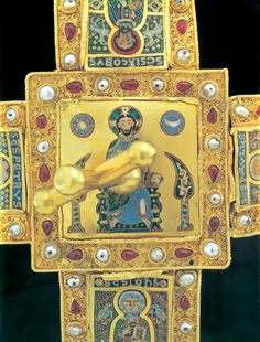 Top of the Hungarian Royal crown - called the Bent Cross Crown.  The Enamel on the top of the crown shows Christ Pantokrator