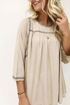 Tan Embroidered Blouse | ROOLEE