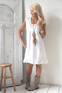OLIVIA Linen Dress, White - BYPIAS Linen Dresses - BYPIAS