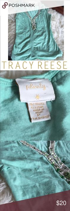 Plenty by Tracy Reese Mint Green Jeweled Top Plenty by Tracy Reese Mint Green Jeweled Top. 16 inch bust. Cap sleeve. 23 inches long. Hole in the stitching for the boob dart. Otherwise great condition. Feel free to make an offer. Tracy Reese Tops