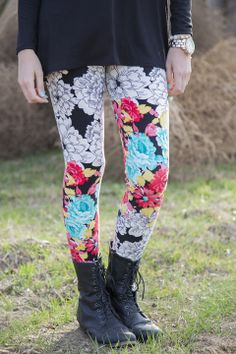Abstract Floral Leggings $21.99