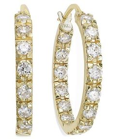 B. Brilliant 18k Gold over Sterling Silver Earrings, Cubic Zirconia In and Out Hoop Earrings.
