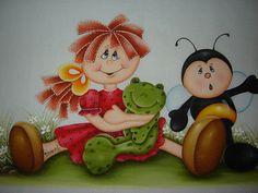 Menina country,sapo e abelha | por Raquel - Pintando o 7