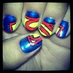 Superman nail design