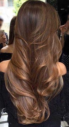 Brown Hair Balayage, Brown Hair With Highlights, Hair Color Balayage, Balayage Highlights, Blonde Balayage, Brunette Highlights, Blonde Ombre, Curly Blonde, Brunette Hair Chocolate Caramel Balayage
