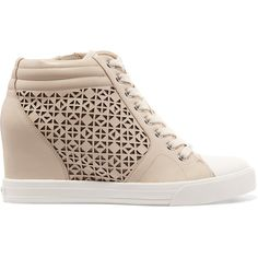 DKNY Cindy laser-cut leather wedge sneakers (345 ILS) ❤ liked on Polyvore featuring shoes, sneakers, beige, wedge trainers, leather shoes, lace up shoes, platform wedge sneakers and zipper sneakers