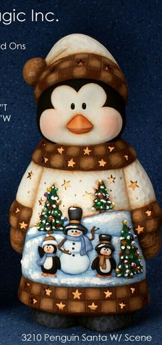 Scenery penguin Christmas Animals, 1st Christmas, Christmas Snowman, Rustic Christmas, Christmas Ornaments, Clay Projects, Clay Crafts, Diy And Crafts, Pottery Painting