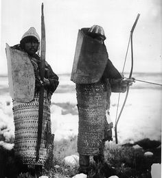 Inuits. The armor is made out of ivory and whale baleen. The upper part was made to protect against arrow fire, the wearer would simply turn his back when a volley would come.
