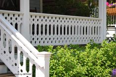 Sawn balusters are not only perfect for Victorian porches and also work well with any porch design. See our gallery and ideas for porch railings. Porch Balusters, Wood Deck Railing, Front Porch Railings, Wood Balusters, Deck Railing Design, Patio Deck Designs, Balustrades, Porch Roof, Roof Design