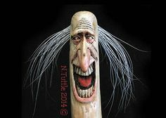 ORIGINAL WOOD SPIRIT CARVING GOOFY WALKING JOY STICK CAT STAFF OOAK by NANCY TUTTLE
