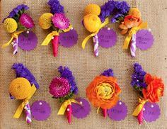 Colorful boutonnieres // photo by Jeremy and Kristin, via http://theeverylastdetail.com/a-colorful-elegant-eclectic-texas-wedding/