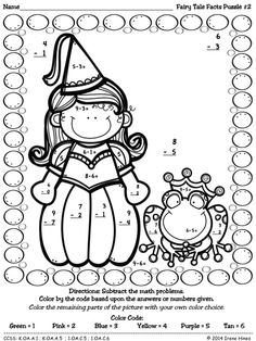 Fairy Tale Facts ~ Color By The Number Code Math Puzzles To Practice Number Recognition, First Grade Reading, First Grade Math, Kindergarten Math, Math Math, Fairy Tales Unit, Fairy Tale Theme, Math Groups, Maths Puzzles, Color By Numbers