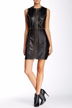 BE GLAM-ROCK │ Versus Versace │gold studded leather black dress│RENT it on Style Lend, www.stylelend.com