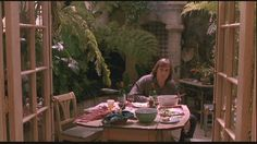 """Greenhouse setting in the film 'Green Card', directed by Peter Weir, 1990; screencap from """"Andie MacDowell's apartment (& greenhouse!) from 'Green Card'"""" by Julia, Hooked on Houses, 07 November 2011"""