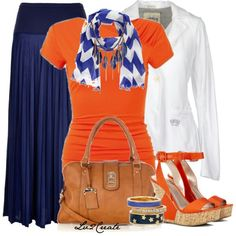 Orange skirt...blue top