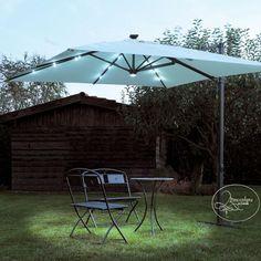 Ombrellone da giardino decentrato Mis. 3.00x3.00 con luci LED