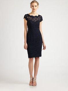 ML Monique Lhuillier - Diamond-Back Lace Dress