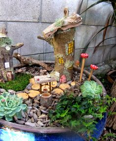 Part of a fairy garden at Ronald McDonald House at Starship Children's Hospital in Auckland, New Zealand, made by https://www.facebook.com/Awaywiththefairiesgardens