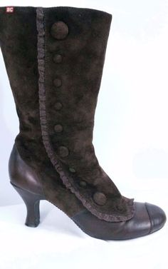 BC FOOTWEAR WOMENS SIZE 7.5 Brown Suede Granny Boots Mid Calf Super Cute #BCFootwear #MidCalfBootsGrannyStyle #Casual