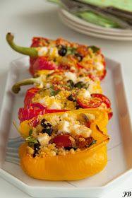 Carolines blog: Mediterrane gevulde paprika's Real Food Recipes, Vegetarian Recipes, Cooking Recipes, Yummy Food, Healthy Recipes, Feel Good Food, Love Food, Happy Foods, Tasty Dishes