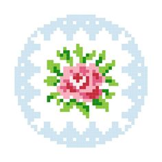 Interested to apply a cross stitch pattern to tapestry crochet. Cross Stitch Love, Cross Stitch Flowers, Cross Stitch Charts, Cross Stitch Designs, Cross Stitch Patterns, Cross Stitching, Cross Stitch Embroidery, Embroidery Patterns, Rose Embroidery
