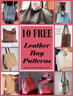 Learn how to make your own leather totes and bags with these free leather tote patterns. You'll be surprised at just how easy it is to work with these simple leather sewing patterns. Purse Patterns Free, Bag Pattern Free, Handbag Patterns, Bag Patterns To Sew, Tote Pattern, Sewing Patterns, Diy Leather Tote, Sewing Leather, Leather Bags Handmade