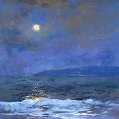 "huariqueje:  ""  Strawberry Moonlight - S. Burkett Kaiser  American,b.1946-  Oil on canvas, 30 x 30′in.  """