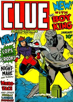 Boy King and Giant - Clue Comics - Golden Age Comics Superhero Poster – Available Now: http://aimcollectibles.blogspot.com/2015/10/boy-king-giant-clue-comics-poster.html
